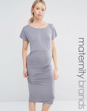 Облегающее платье со сборками и короткими рукавами Isabella Oliver. Цвет: серый