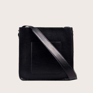 Минималистичная квадратная сумка большей емкости SHEIN. Цвет: чёрный