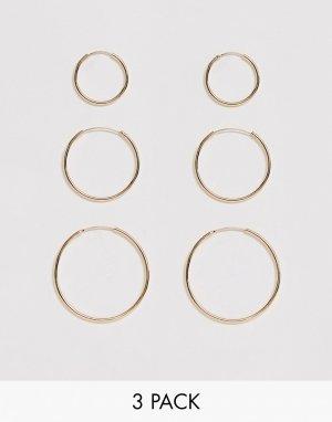 Набор из 3 пар тонких золотистых серег-колец -Золотой ASOS DESIGN