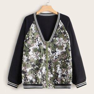 Полосатая куртка-бомбер размера плюс с молнией и камуфляжным принтом SHEIN. Цвет: многоцветный