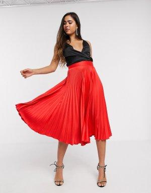 Красная плиссированная юбка -Красный Closet London