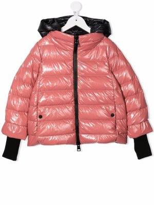 Hooded zip-up padded jacket Herno Kids. Цвет: розовый