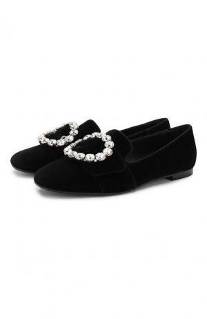 Текстильные слиперы Jackie Dolce & Gabbana. Цвет: чёрный