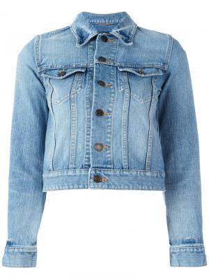 Джинсовая куртка с заплаткой Love Saint Laurent. Цвет: синий