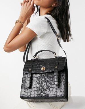 Черный портфель с застежкой-твистом и крокодиловым принтом -Голубой ASOS DESIGN