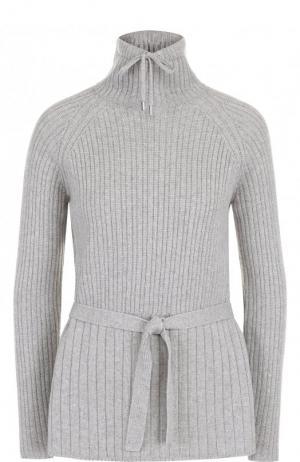Кашемировый пуловер с поясом и воротником-стойкой Loro Piana. Цвет: светло-серый
