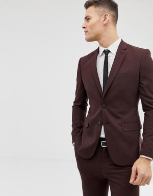 Бордовый приталенный пиджак -Красный New Look