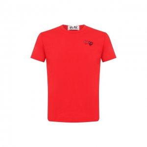 Хлопковая футболка Comme des Garcons Play. Цвет: красный
