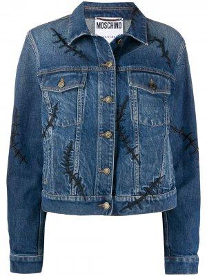 Джинсовая куртка Scars Moschino. Цвет: синий