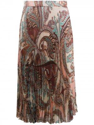 Плиссированная юбка миди с принтом пейсли Blumarine. Цвет: нейтральные цвета