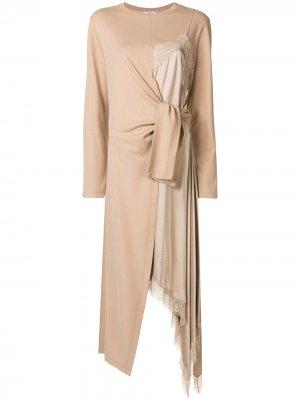 Платье из джерси на бретелях со вставками Goen.J. Цвет: коричневый