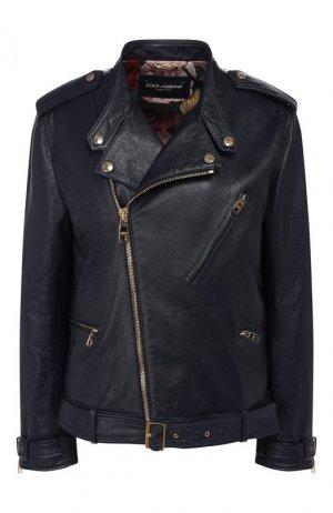 Кожаная куртка Dolce & Gabbana. Цвет: синий