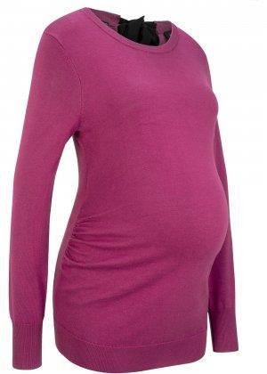 Пуловер с бантом для беременных bonprix. Цвет: лиловый