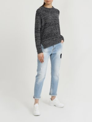 Зауженные джинсы с потертостями Ice Play. Цвет: goluboy