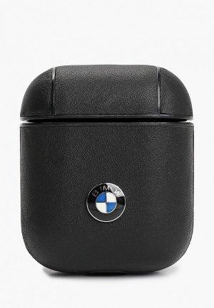 Чехол для наушников BMW Airpods, Signature leather with metal logo Black. Цвет: черный