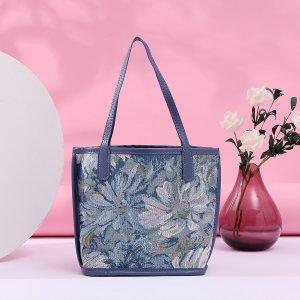 Сумка-тоут на плечо картины с внутренней сумкой SHEIN. Цвет: темно-синий