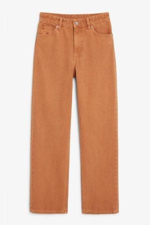 Прямые джинсы Taiki Monki. Цвет: коричневый, бронзовый