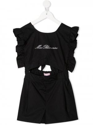 Комбинезон с вырезами и логотипом Miss Blumarine. Цвет: черный