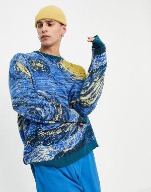 Трикотажный жаккардовый джемпер синего цвета с принтом в стиле картин Ван Гога -Голубой ASOS DESIGN