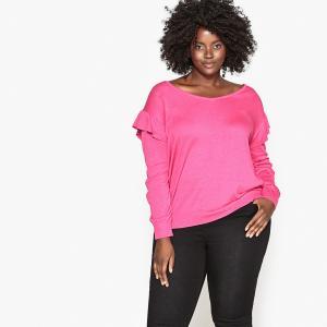 Пуловер с V-образным вырезом и воланами CASTALUNA. Цвет: розовый фуксия