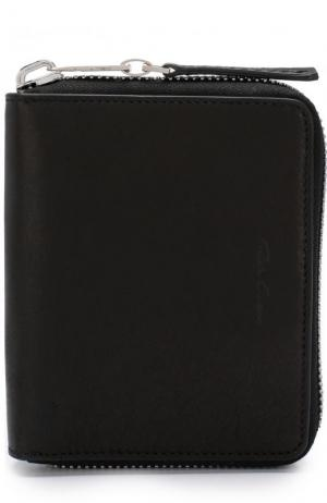 Кожаное портмоне на молнии с отделениями для кредитных карт и монет Rick Owens. Цвет: черный