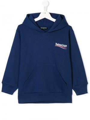 Толстовка с капюшоном и логотипом Balenciaga Kids. Цвет: синий