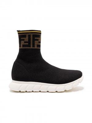 Кроссовки-слипоны с логотипом FF Fendi Kids. Цвет: черный