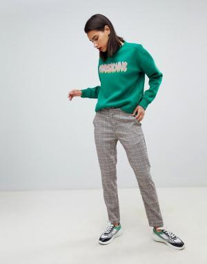 Прямые брюки в клетку Sofie Schnoor. Цвет: серый
