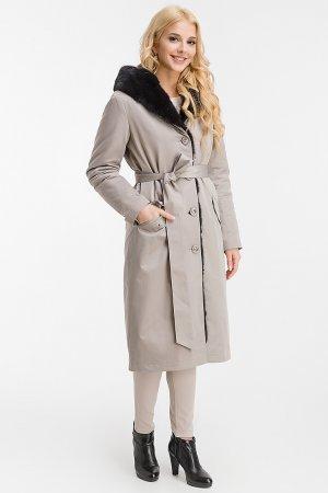Стильное пальто на кроличьей подстежке для большого размера Garioldi. Цвет: серый