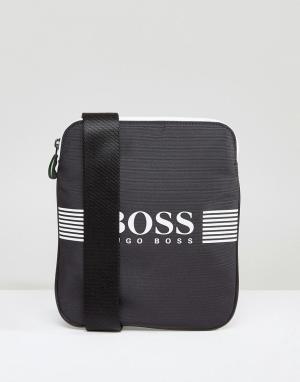 Серая сумка для путешествий с логотипом by Hugo Boss Green. Цвет: серый