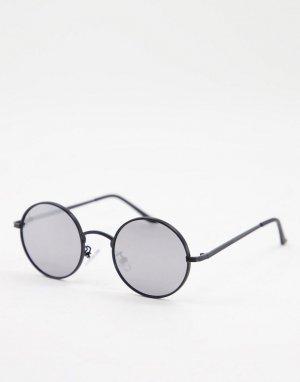 Мужские круглые солнцезащитные очки в черной оправе -Черный цвет Jeepers Peepers