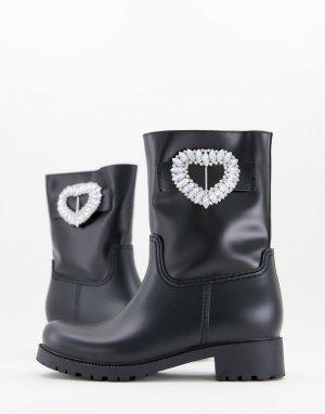 Черные резиновые сапоги с декоративной отделкой Gemma-Черный цвет ASOS DESIGN