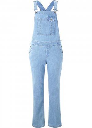 Комбинезон джинсовый Wide bonprix. Цвет: синий