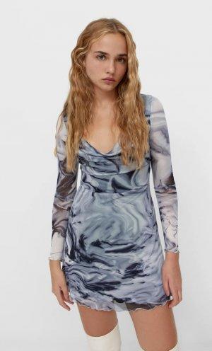 Платье Из Прозрачной Ткани С Длинными Рукавами Цвет Небеленого Полотна L Stradivarius. Цвет: цвет небеленого полотна