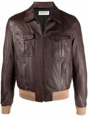 Куртка со вставками Saint Laurent. Цвет: коричневый