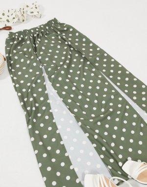 Пляжная юбка макси цвета хаки в горошек от комплекта -Многоцветный ASOS DESIGN