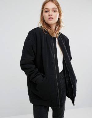 Джинсовая куртка-пилот Monki. Цвет: черный