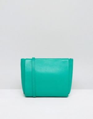 Кожанная сумка через плечо с застежкой‑молнией Icon Jaeger. Цвет: зеленый