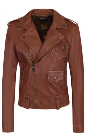 Однотонная кожаная куртка с косой молнией Polo Ralph Lauren. Цвет: коричневый