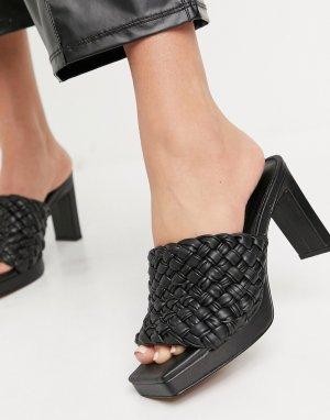 Черные плетеные сандалии на среднем каблуке и платформе ASOS DESIGN Honey-Черный цвет