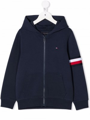 Logo-embroidered zip-up hoodie Tommy Hilfiger Junior. Цвет: синий