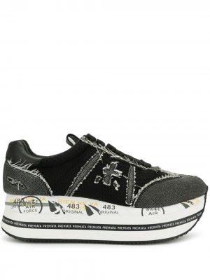 Кроссовки на платформе с эффектом потертости Premiata. Цвет: черный