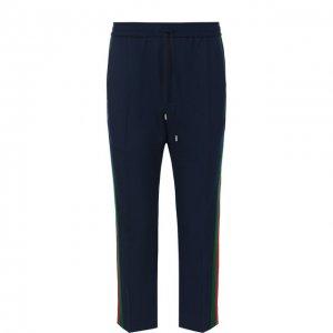 Шерстяные укороченные брюки с поясом на кулиске Gucci. Цвет: синий