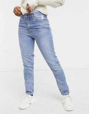 Прямые сине-голубые джинсы с завышенной талией MiH Mimi-Голубой Jeans