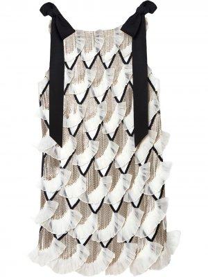 Декорированное платье мини Carolina Herrera. Цвет: белый