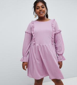 Свободное платье с оборками -Фиолетовый цвет Junarose
