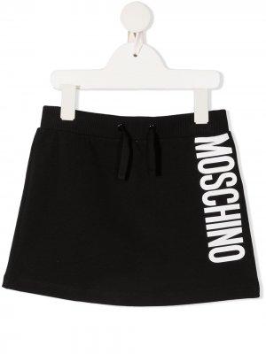 Спортивная юбка с логотипом Moschino Kids. Цвет: черный