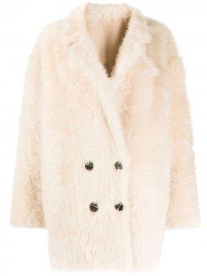 Двубортное пальто Liska. Цвет: нейтральные цвета