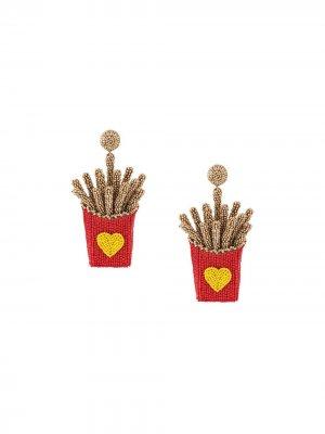 Серьги Heart Fries Deepa Gurnani. Цвет: красный