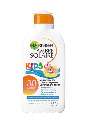 Молочко солнцезащитное Garnier детское, для тела Ambre Solaire, Непобедимое увлажняющее, водостойкое, гипоаллергенное, SPF 30, 200 мл. Цвет: белый